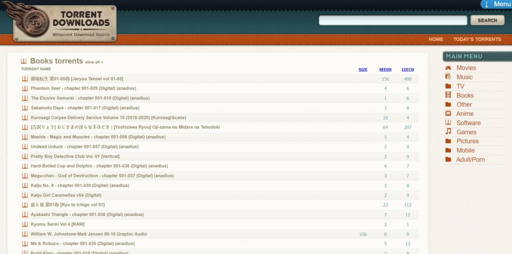 TorrentDownloads torrent site for eBooks