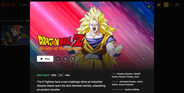 Watch Dragon Ball Z - Wrath of the Dragon on Netflix 3