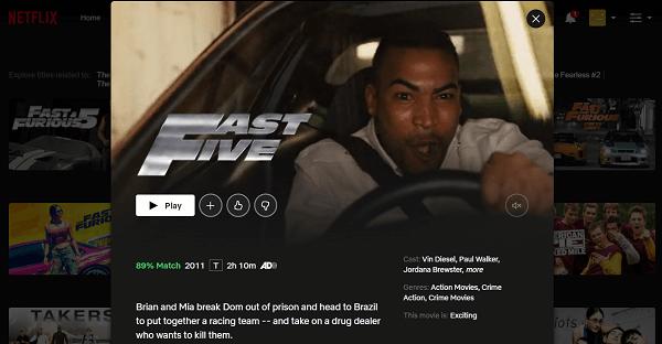 Watch Fast Five (2011) on Netflix 3