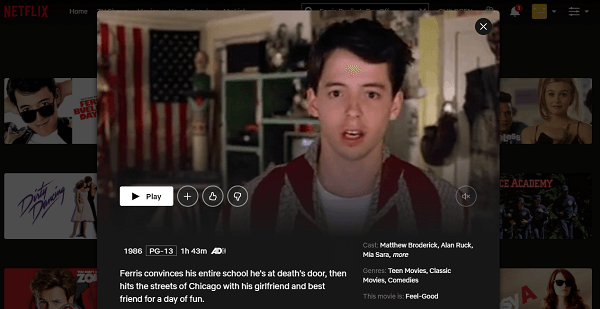 Watch Ferris Bueller's Day Off (1986) on Netflix 3