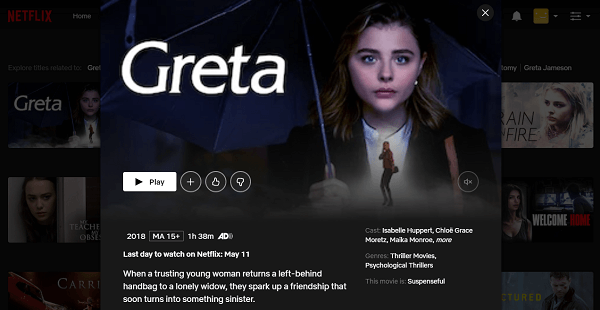Watch Greta (2018) on Netflix 3