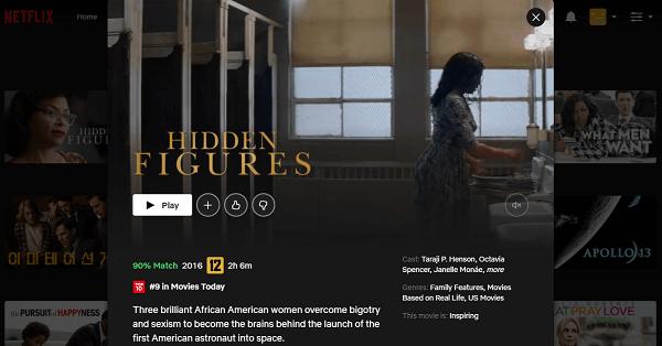 Watch Hidden Figures (2016) on Netflix 3