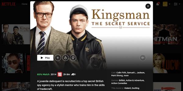 Watch Kingsman - The Secret Service (2014) on Netflix 3