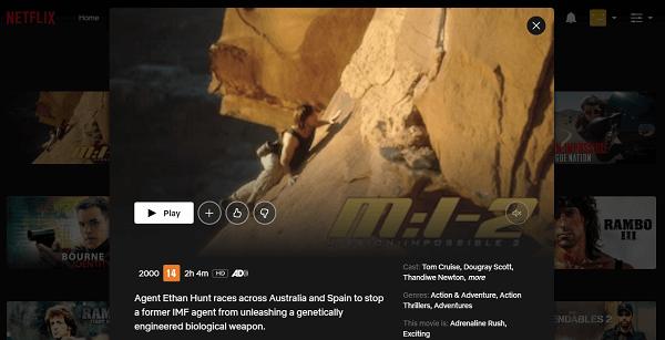 Watch MI 2 (2000) on Netflix 3
