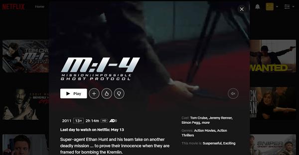 Watch MI - Ghost Protocol (2011) on Netflix 3