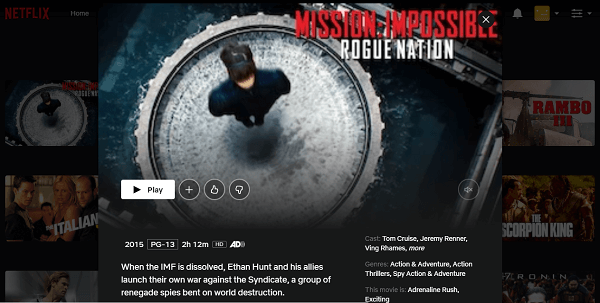 Watch MI - Rogue Nation (2015) on Netflix 3