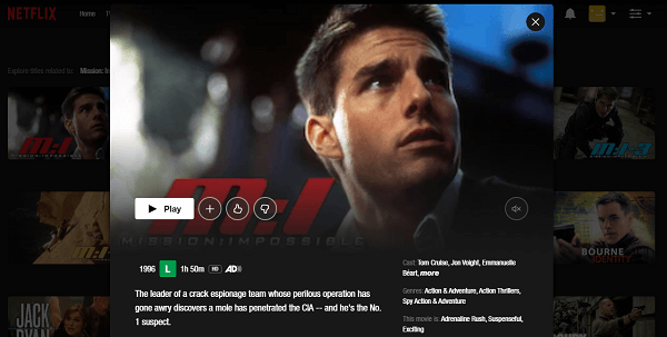 Watch Mission Impossible (1996) on Netflix 3