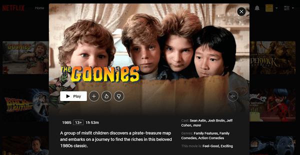 Watch The Goonies (1985) on Netflix 3