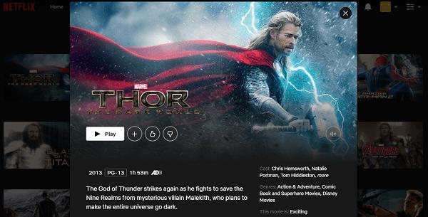 Watch Thor - The Dark World (2013) on Netflix 3