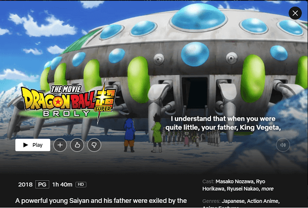 Watch Dragon Ball Super: Broly (2018) on Netflix From Anywhere in the World