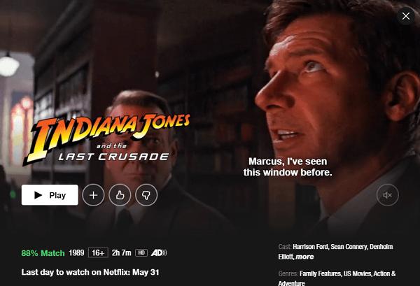 Watch Indiana Jones and the Last Crusade (1989) on Netflix