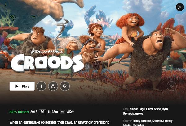 Watch The Croods On netflix