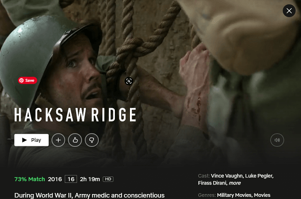 Watch Hackshaw Ridge on Netflix