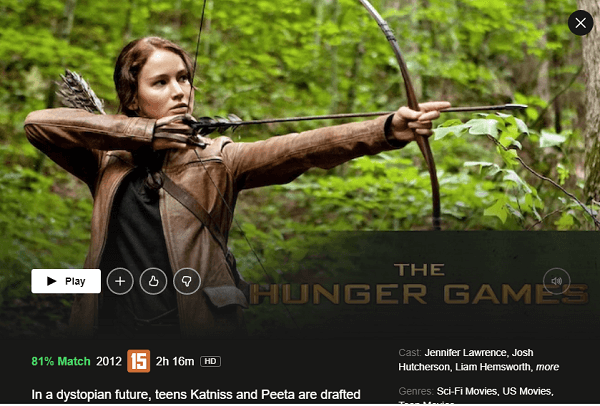 Watch The Hunger Games (2012) on Netflix