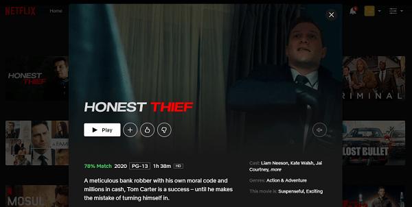 Watch Honest Thief (2020) on Netflix 3