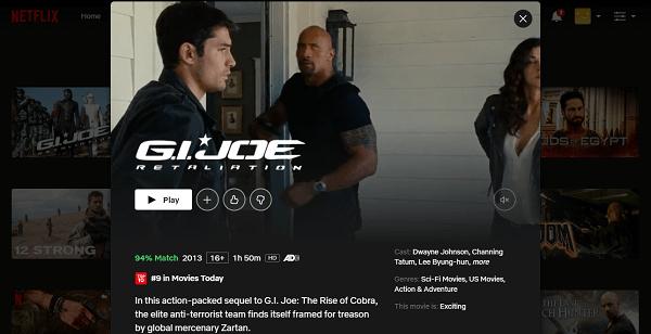 Watch MG.I. Joe - Retaliation (2013) on Netflix 3