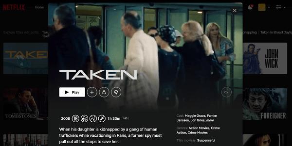 Watch Taken (2008) on Netflix 3