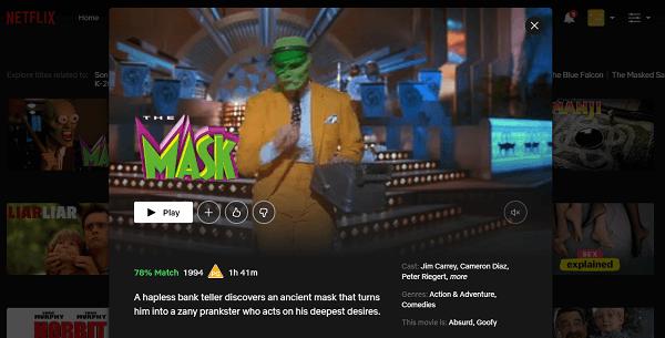 Watch The Mask (1994) on Netflix 3