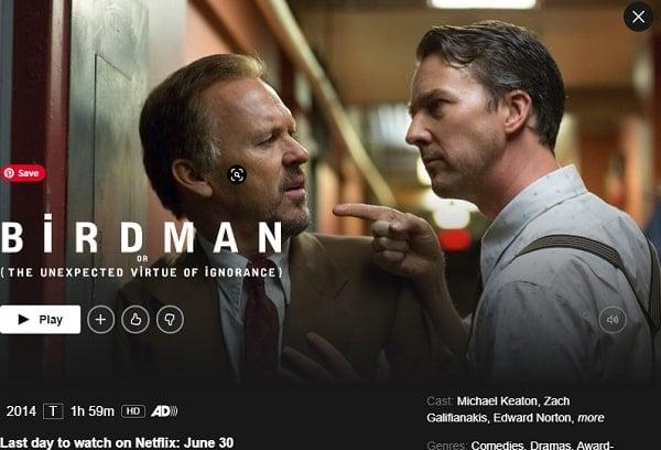 Watch Birdman (2014) on Netflix