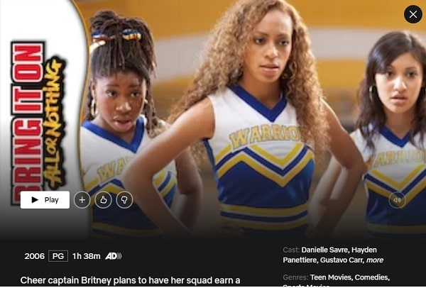 Watch Bring It On: All or Nothing (2006) on Netflix