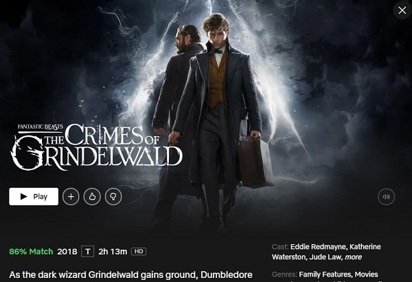 Watch Fantastic Beasts: The Crimes of Grindelwald (2018) on Netflix