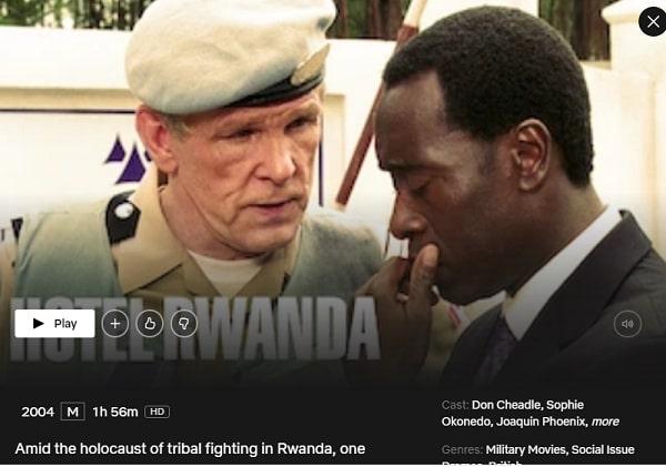 Watch Hotel Rwanda (2004) on Netflix
