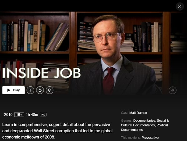 Watch Inside Job (2010) on Netflix