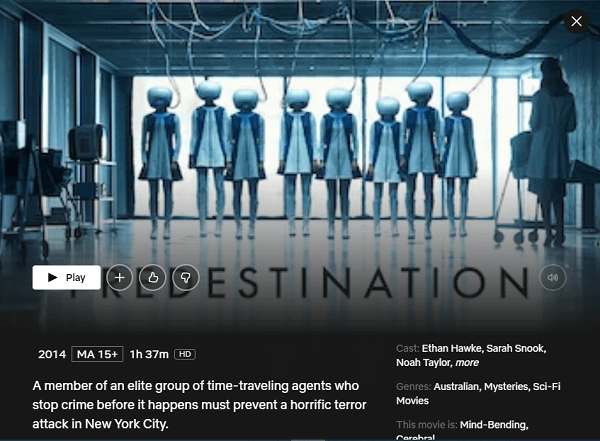 Watch Predestination (2014) on Netflix From Anywhere