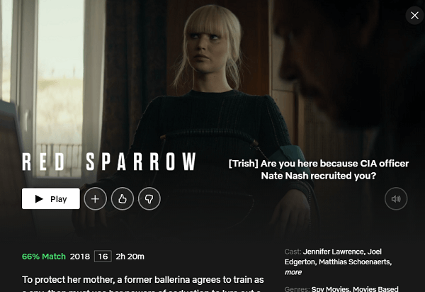 Watch Red Sparrow (2018) on Netflix