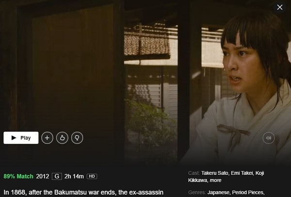 Watch Rurouni Kenshin (2012) on Netflix