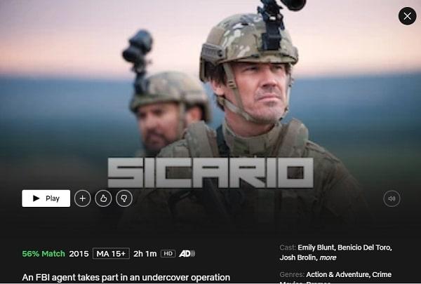 Watch Sicario (2015) on Netflix