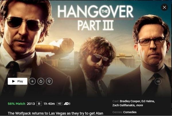 Watch The Hangover: Part III (2013) on Netflix