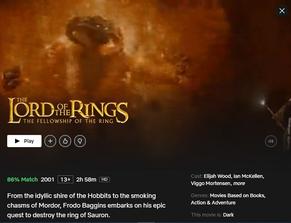Watch The Lord of the Rings: The Fellowship of the Ring (2001) on Netflix