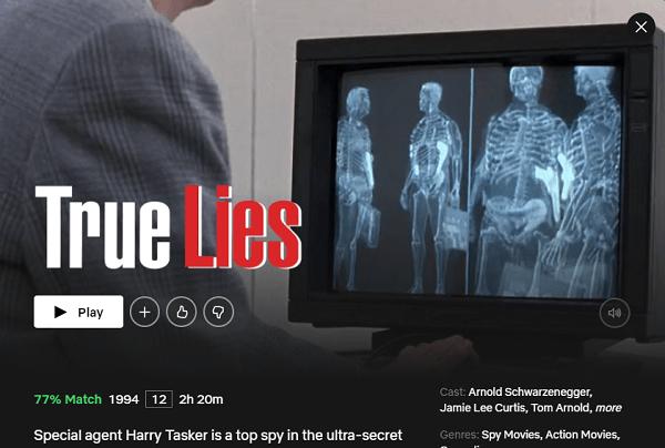 Watch True Lies (1994) on Netflix