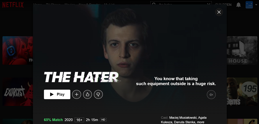 Watch The Hater on Netflix 2