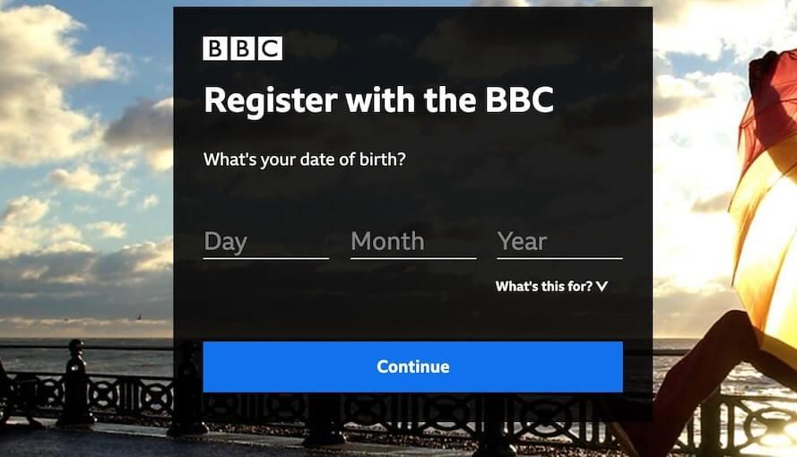 bbc iplayer registration date of birth