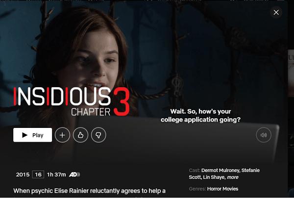 Watch Insidious: Chapter 3 (2015) on Netflix