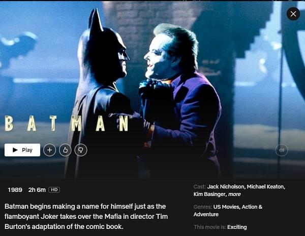Watch Batman (1989) on Netflix