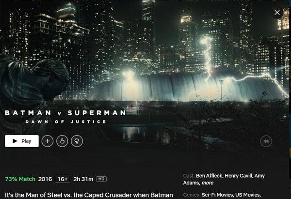 Watch Batman v Superman: Dawn of Justice (2016) on Netflix