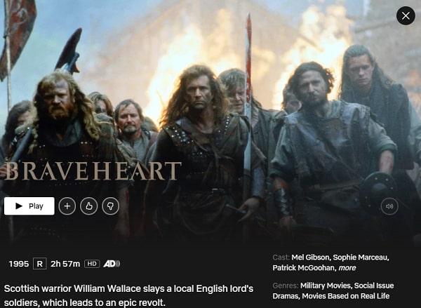 Braveheart (1995): Watch it on Netflix