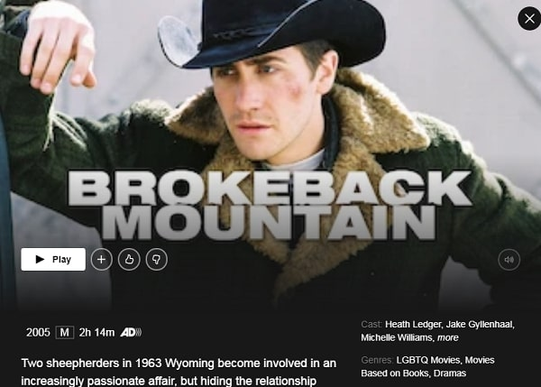Watch Brokeback Mountain (1988) on Netflix
