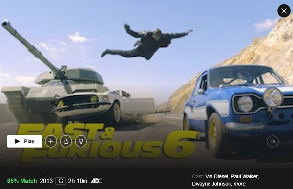 Watch Fast and Furious 6 (2013) on Netflix