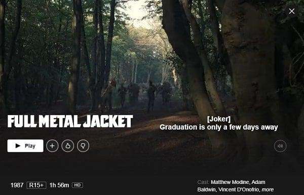 Full Metal Jacket (1987): Watch it on Netflix