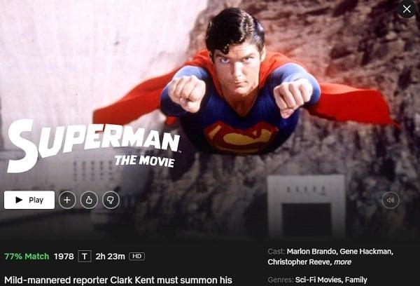 Superman: The Movie (1978): Watch it on Netflix