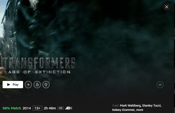 Watch Transformers: Age of Extinction (2014) on Netflix
