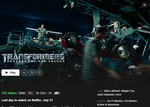 Watch Transformers: Revenge of the Fallen (2009) on Netflix